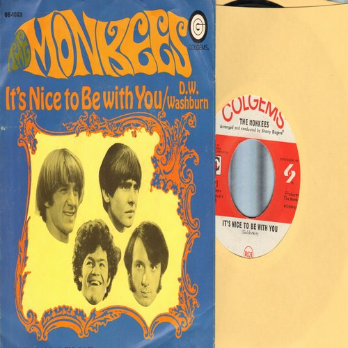 Monkees - D. W. Washburn/It's Nice To Be With You (with picture sleeve) - NM9/EX8 - 45 rpm Records