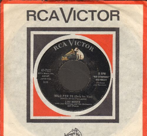 Monte, Lou - Solo Per Te (Only For You)/The Angel In The Fountain (with RCA company sleeve) - EX8/ - 45 rpm Records