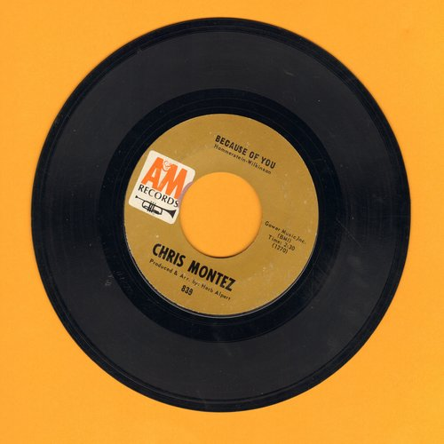 Montez, Chris - Because Of You/Elena (with juke box label) - EX8/ - 45 rpm Records