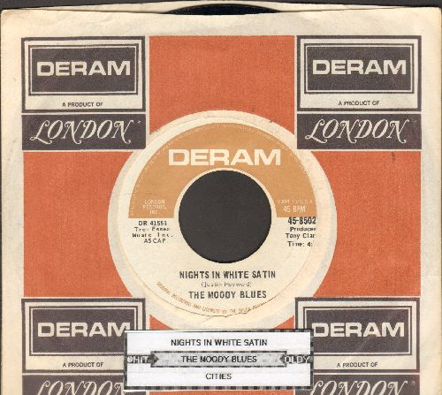 Moody Blues - Nights In White Satin/Cities (with Deram company sleeve and juke box label) - EX8/ - 45 rpm Records