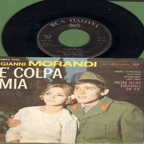 Morandi, Gianni - E' Colpa Mia/Si fa Sera (Italian Pressing with picture sleeve, sung in Italian) - EX8/EX8 - 45 rpm Records