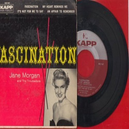 Morgan, Jane - Fascination/My Heart Reminds Me/It's Not For Me To Say/An Affair To Remember (Vinyl EP record with picture cover) - EX8/EX8 - 45 rpm Records