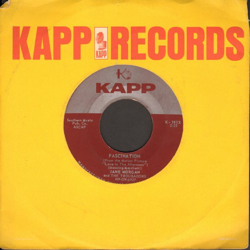 Morgan, Jane - Fascination/Whistling Instrumental Fascination (with vintage Kapp company sleeve) - NM9/ - 45 rpm Records