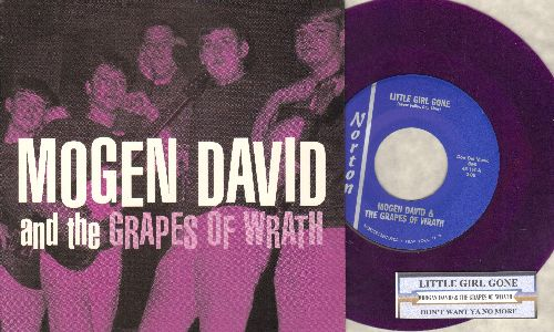 Mogen David & The Grapes Of Wrath - Mogen David & The Grapes Of Wrath: Little Girl Gone/Don't Want Ya No More (re-issue if obscure Garage Band Recordings with unique grape color vinyl, juke box label and picture sleeve) - M10/M10 - 45 rpm Records