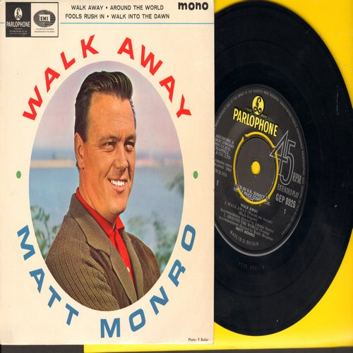 Monro, Matt - Walk Away (Warum nur warum)/Around The World/Fools Rush In/Walk Into The Dawn (vinyl EP record with picture cover, British pressing with removable spindle adapter) - NM9/NM9 - 45 rpm Records