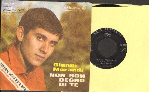 Morandi, Gianni - Non Son Degno Di Te/Per Una Notte No (FANTASTIC Italian 60s Teen Idol 2 sider! - Italian Pressing with picture sleeve, minor wos) - EX8/EX8 - 45 rpm Records
