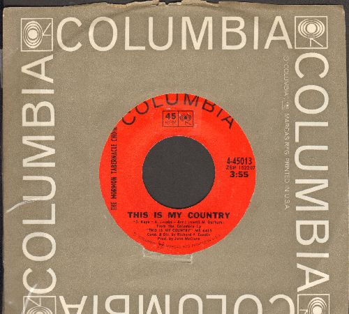 Mormon Tabernacle Choir - This Is My Country/One Small Step (with Columbia company sleeve) - NM9/ - 45 rpm Records