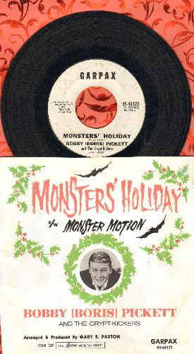 Pickett, Bobby (Boris) - Monsters' Holiday/Monster Motion (RARE follow-up to novelty hit Monster Mash, with Repro picture sleeve) - EX8/ - 45 rpm Records