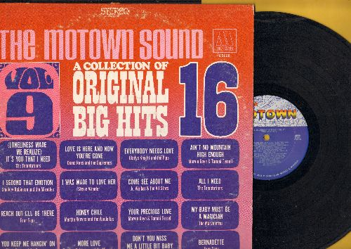 Temptations, Marvin Gaye & Tammi Terrell, Four Tops, others - A Collection Of Original Big Hits Vol. 9: You Keep Me Hangin' On, Bernadette, I Second That Emotion, Come See About Me (vinyl STEREO LP record) - EX8/EX8 - LP Records