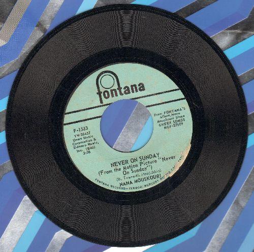 Mouskouri, Nana - Never On Sunday/The Lightheaded Youths - EX8/ - 45 rpm Records