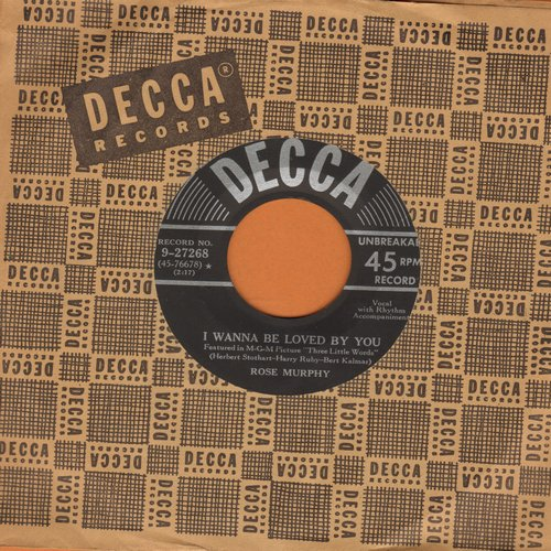 Murphy, Rose - I Wanna Be Loved By You/Button Up Your Overcoat (with vintage Decca company sleeve) - EX8/ - 45 rpm Records