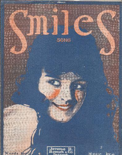 Smiles - Smiles - Vintage WWI Era SHEET MUSIC, NICE cover art! - EX8/ - Sheet Music