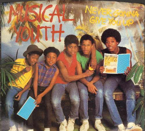 Musical Youth - Never Gonna Give You Up (double-A-sided DJ advance pressing with picture sleeve) - NM9/NM9 - 45 rpm Records