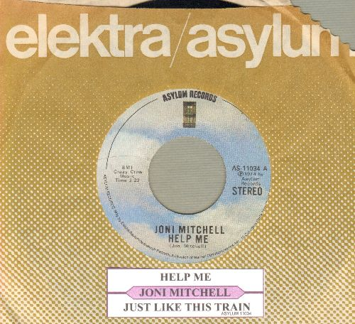 Mitchell, Joni - Help Me/Just Like This Train (with juke box label and Asylum company sleeve) - NM9/ - 45 rpm Records