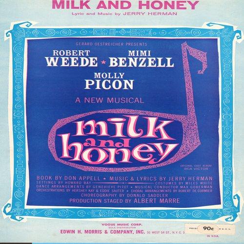 Fisher, Eddie - Milk And Honey - SHEET MUSIC for the song featured in Broadway Musical of same title, made popular by Eddie Fisher's hit recording. - NM9/ - 45 rpm Records