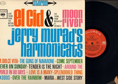 Murad, Jerry Harmonicats - El Cid & Moon River: La Dolce Vita, Never On Sunday, Over The Rainbow, Maria (Vinyl STEREO LP record) - M10/EX8 - LP Records