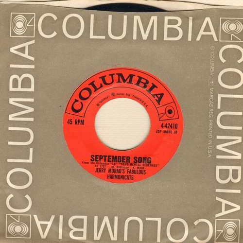 Murad, Jerry Harmonicats - September Song/Ebb Tide (with Columbia company sleeve) - EX8/ - 45 rpm Records