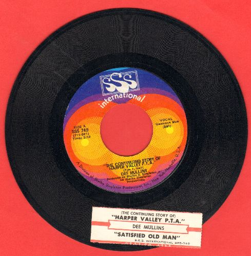 Mullins, Dee - The Continuing Story Of Harper Valley P.T.A./Satisfied Old Man (with juke box label) - NM9/ - 45 rpm Records