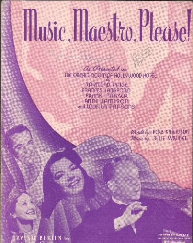 Langford, Frances - Music, Maestro, Please! - Vintage 1939 Sheet Music for the popular Standard. Featuring NICE likeness of a young Frances Langford! - VG7/ - Sheet Music