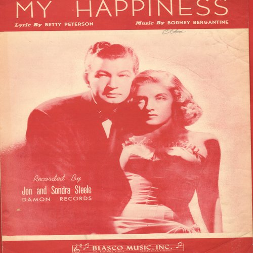 Francis, Connie - My Happiness -Vintage  SHEET MUSIC for the song made popular again by Teen Idol Connie Francis - This is the EARLIER issue with duo Jon and Sondra Streele on cover art. - EX8/ - Sheet Music