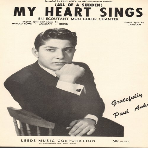 Anka, Paul - (All Of A Sudden) My Heart Sings - Sheet Music for the song made popular by Paul Anka, NICE cover portrait!  (This is SHEET MUSIC, not any other kind of media!) - NM9/ - Sheet Music