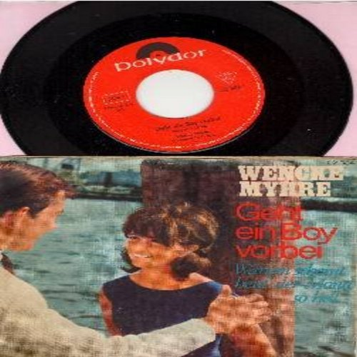 Myhre, Wencke - Geht ein Boy vorbei/Warum scheint heut' der Mond so hell (German Pressing, sung in German, with picture sleeve) (wos) - NM9/VG7 - 45 rpm Records