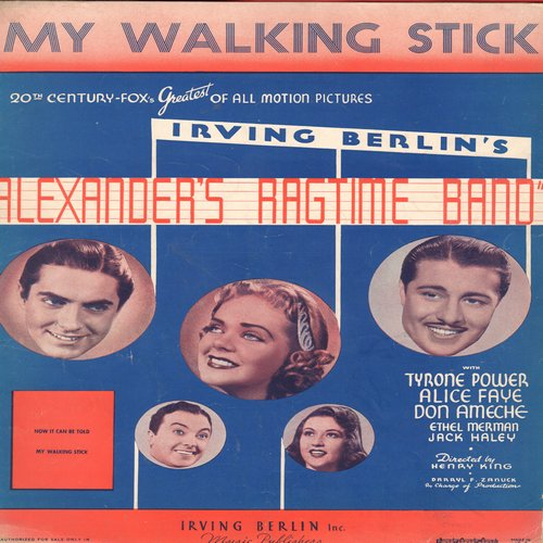 Berlin, Irving - My Walking Stick - Vintage Sheet Music for the song featured in film -Alexander's Ragtime Band-  (This is SHEET MUSIC, not any other kind of media!) - VG7/ - Sheet Music