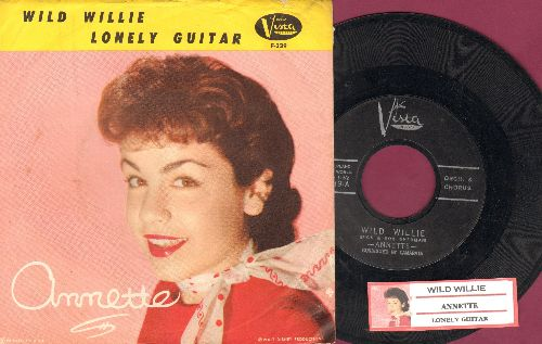 Annette - Wild Willie/Lonely Guitar (with juke box label and picture sleeve) - EX8/EX8 - 45 rpm Records