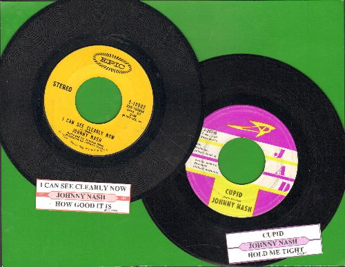 Nash, Johnny - 2 first pressing 45s with juke box labels for the price of 1! Hits include Cupid and I Can See Clearly Now. Shipped in plain white paper sleeves. GREAT for a juke box! - EX8/ - 45 rpm Records