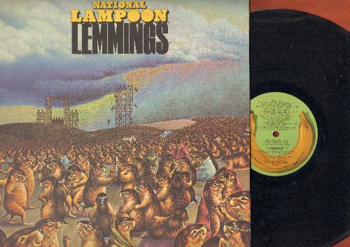 National Lampoon - Lemmings: Positively Wall Street, Pizza Man, Farmer Yassir, Lonely At The Bottom, Mewgadeath (vinyl STEREO LP record, gate-fold cover with picture pages) - EX8/EX8 - LP Records