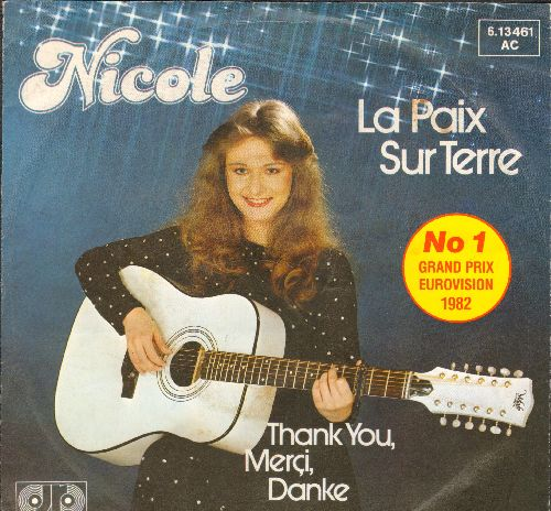 Nicole - La Paix Sur Terre (Ein bisschen Frieden)/Thank You, Merci, Danke (WINNER Grand Prix Eurovision 1982, German Pressing with picture sleeve and juke box label, sung in French) - NM9/EX8 - 45 rpm Records