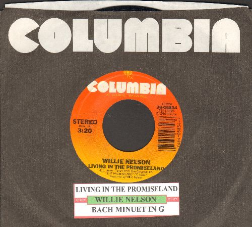 Nelson, Willie - Living In The Promiseland/Bach Minuet In G (with juke box label Columbia company sleeve) - EX8/ - 45 rpm Records