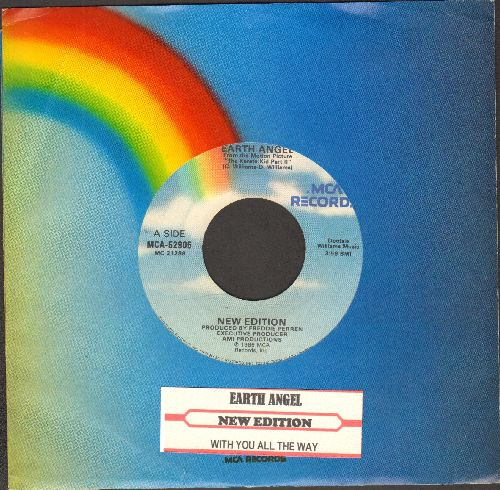 New Edition - Earth Angel (FANTASTIC updated version of the Doo-Wop Classic!)/With You All The Way (with juke box label and company sleeve) - NM9/ - 45 rpm Records