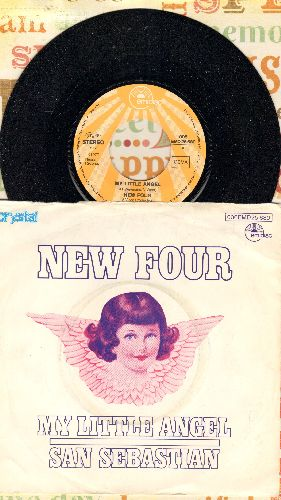 New Four - My Little Angel/San Sebastian (German Pressing with picture sleeve, sung in English) - NM9/EX8 - 45 rpm Records