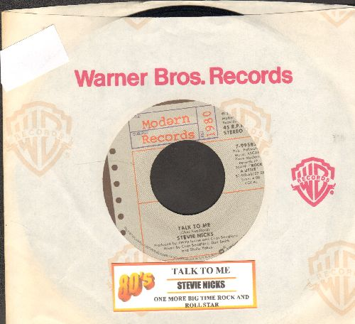 Nicks, Stevie - Talk To Me/One More Big Time Rock And Roll Star (with juke box label company sleeve) - EX8/ - 45 rpm Records