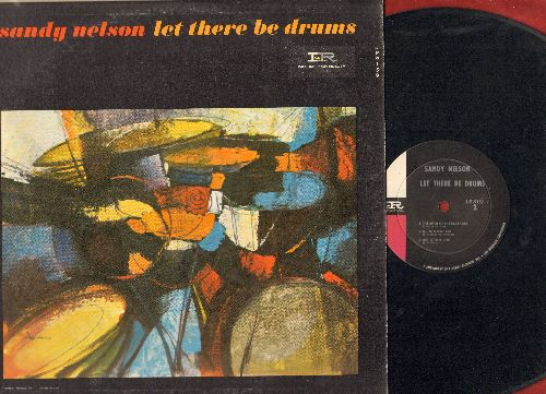 Nelson, Sandy - Let There Be Drums: The Birth Of The Beat, Quite A Beat, Tequila, Bouncy, My Girl Josephine, Slippin' And Slidin' (Vinyl MONO LP record, pink and blaclk and white label) - EX8/EX8 - LP Records