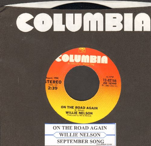 Nelson, Willie - On The Road Again/September Song (double-hit re-issue with Columbia company sleeve with juke box label) - NM9/ - 45 rpm Records