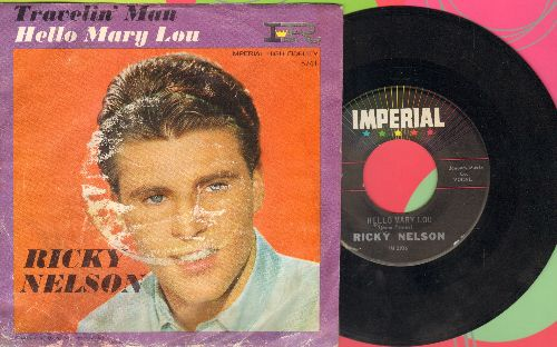 Nelson, Rick - Hello Mary Lou/Travelin' Man (with picture sleeve) - NM9/G4 - 45 rpm Records