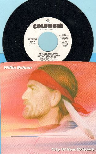Nelson, Willie - City Of New Orleans (unedited version)/City Of New Orleans (edited version) (DJ advance pressing with picture sleeve) - NM9/EX8 - 45 rpm Records