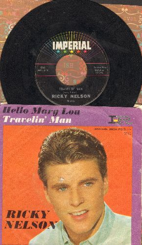 Nelson, Rick - Hello Mary Lou/Travelin' Man (with picture sleeve)(bb) - VG7/VG6 - 45 rpm Records