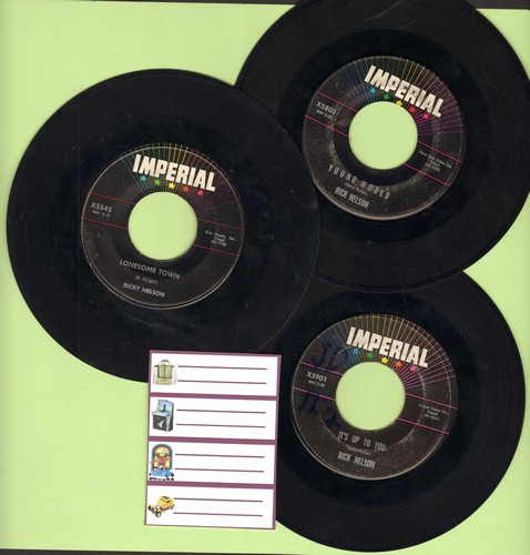 Nelson, Rick - Set of 3 vintage Ricky Nelson 45s, first pressings include hits Young World, Lonesome Town and It's Up To You. Shipped in plain white paper sleeves with 4 blank juke box labels. GREAT for a Juke Box! - VG7/ - 45 rpm Records