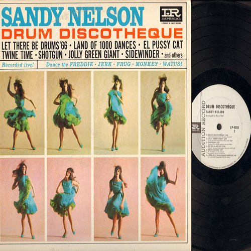 Nelson, Sandy - Drum Discoteque: Let There Be Drums '66, Land Of 1000 Dances, Shotgun, Jolly Green Giant, Teen Beach, El Pussycat (Vinyl MONO LP record, DJ advance pressing) (soc) - EX8/EX8 - LP Records