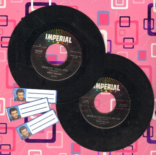 Nelson, Rick - 2 for 1 Special: Sweeter Than You/Never Be Anyone Else But You (2 vintage first issue 45rpm records with 3 blank juke box labels for the price of 1!) - VG7/ - 45 rpm Records