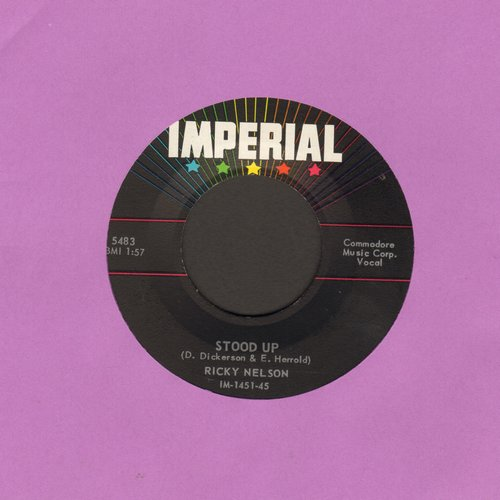 Nelson, Rick - Stood Up/Waitin' In School (with juke box label) - EX8/ - 45 rpm Records