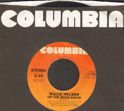 Nelson, Willie - On The Road Again/Jumpin' Ctton Eyed Joe (by Johnny Gimble on flip-side) (with Columbia company sleeve)  - VG7/ - 45 rpm Records