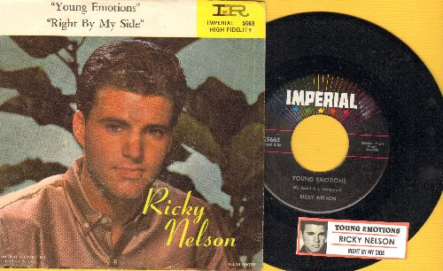 Nelson, Rick - Young Emotions/Right By My Side (with juke box label and picture sleeve) - NM9/EX8 - 45 rpm Records