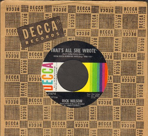 Nelson, Rick - That's All She Wrote/For You (with vintage Decca company sleeve) - NM9/ - 45 rpm Records