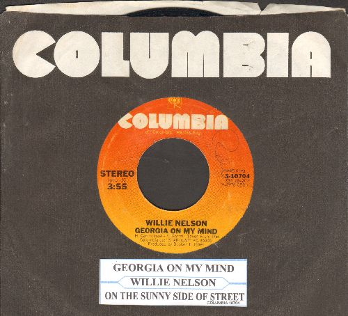 Nelson, Willie - Georgia On My Mind/On The Sunny Side Of The Street (with juke box label Columbia company sleeve) - EX8/ - 45 rpm Records