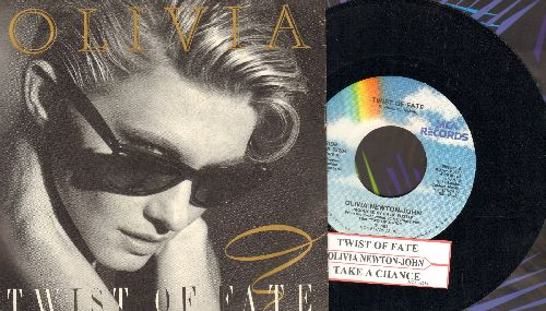 Newton-John, Olivia - Twist Of Fate/Take A Chance (with picture sleeve and juke box label) - NM9/NM9 - 45 rpm Records
