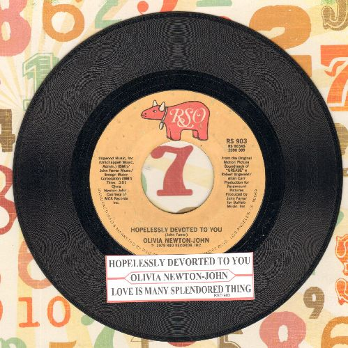 Newton-John, Olivia - Hopelessly Devoted To You/Love Is A Many Splendored Thing (Instrumental)(with juke box label) - EX8/ - 45 rpm Records